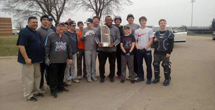 Chicago Cubs World Series Trophy Makes Appearance At Bureau Valley Baseball Practice