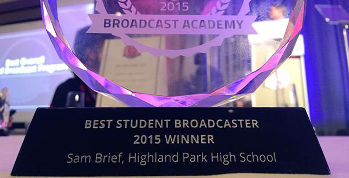 Highland Park's Sam Brief Named Best Student Broadcaster at NFHS Network Broadcast Academy