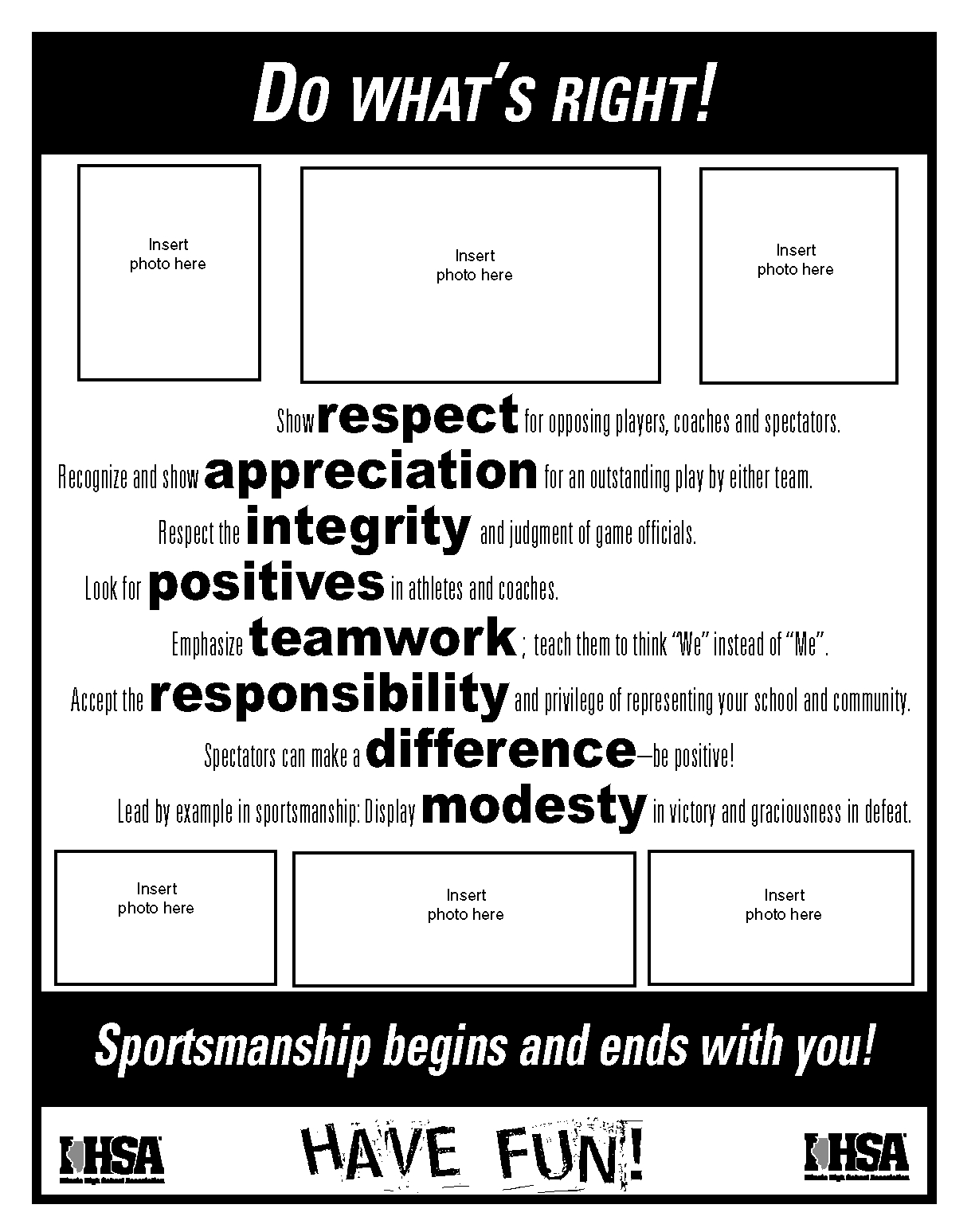 Do what 39 s right sportsmanship resources ihsa for High school football program template