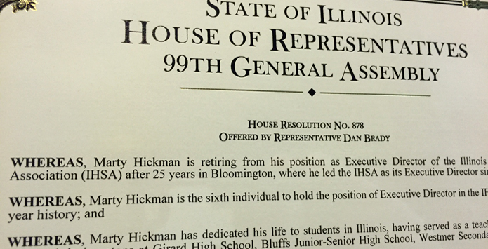 House of Representatives Honors Retiring IHSA Executive Director Marty Hickman With Congratulatory Resolution