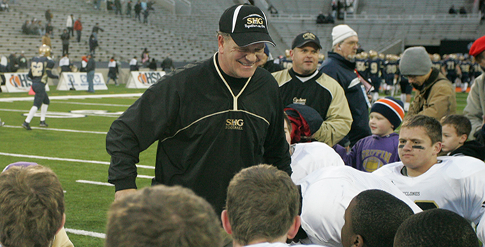 Sacred Heart-Griffin's Ken Leonard Becomes Winningest Football Coach in IHSA History on Emotional Night
