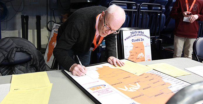 IHSA Honors Barry Mink's 30 Years of Inking IHSA State Wrestling Brackets