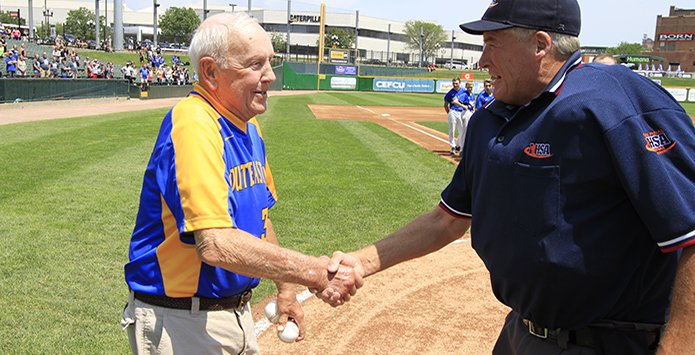 Legendary Baseball Coach Dave Swisegood Makes Appearance at IHSA State Baseball