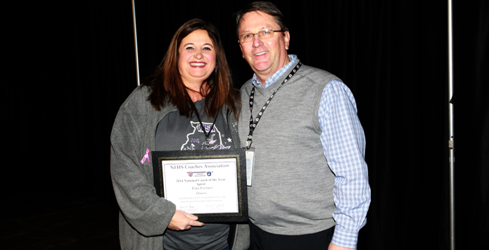 Fieldcrest's Tina Fortner Accepts NFHS National Spirit Coach of the Year Award