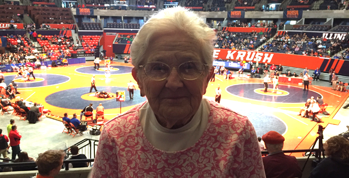 IHSA Wrestling's Most Dedicated Fan? Libby Johnsen Hasn't Missed State Tourney Since 1970